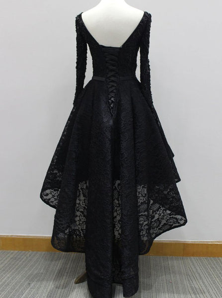 Black Prom Dresses with Sleeves,High Low Prom Dress,Lace Homecoming Dress,PD00305