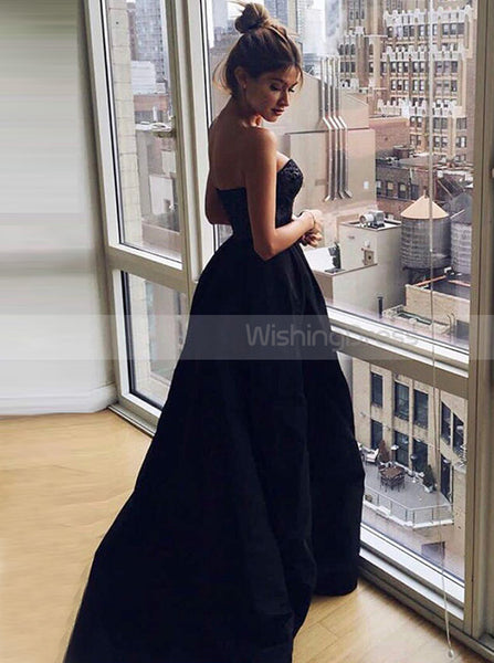 Black Sweetheart Prom Gownsimple Formal Evening Dressprom Dress