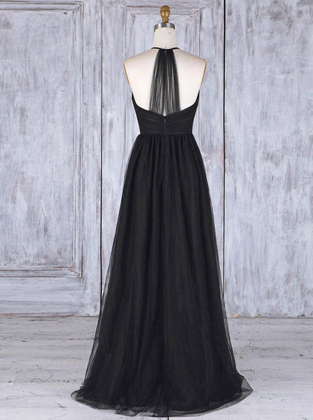 Black Tulle Bridesmaid Dresses,Halter Bridesmaid Dress,BD00345