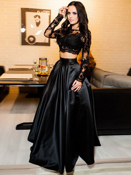 Black Two Piece Prom Dress,Lace Satin Prom Dress,Vogue Prom Dress with Long Sleeves PD00032