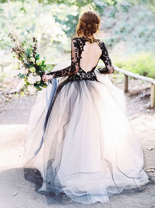 Black Wedding Gown Ball Gown Wedding Dresses Wedding Dress With Sleeve Wishingdress