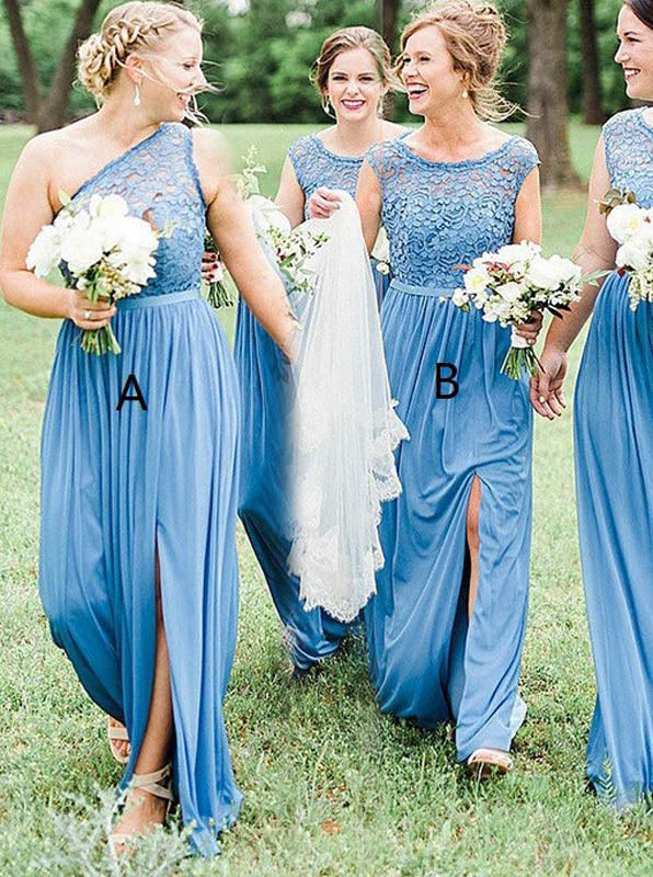 52fab0ff69aed Blue Bridesmaid Dress,Mismatched Bridesmaid Dress,Long Bridesmaid Dress  with Slit,BD00162