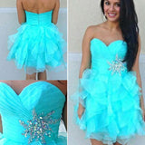 Blue Cocktail Dress, Organza Cocktail Dress, Ruffled Mini Length Cocktail Dress CD00001