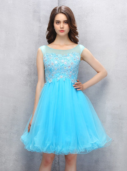Blue Homecoming Dresses,Knee Length Homecoming Dresses,Freshman Homecoming Dress,HC00068
