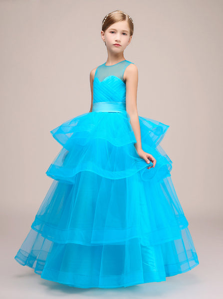Blue Junior Party Dresses,Junior Bridesmaid Dresses,Ruffled Flower Girl Dress,JB00031