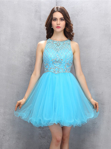 Blue Sweet 16 Dresses,Short Sweet 16 Dress,Tulle Homecoming Dresses,SW00028