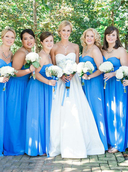 Blue Sweetheart Bridesmaid Dress,Chiffon Bridesmaid Dress,Long Bridesmaid Dress,BD00181