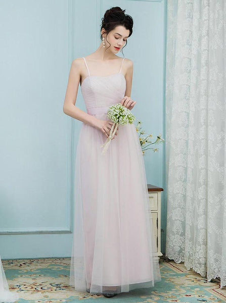Blush Bridesmaid Dresses,Tulle Long Bridesmaid Dress,Spaghetti Straps Bridesmaid Dress,BD00220