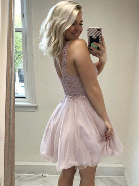 Blush Homecoming Dresses,Homecoming Dress for Teens,Unique Homecoming Dress,HC00008
