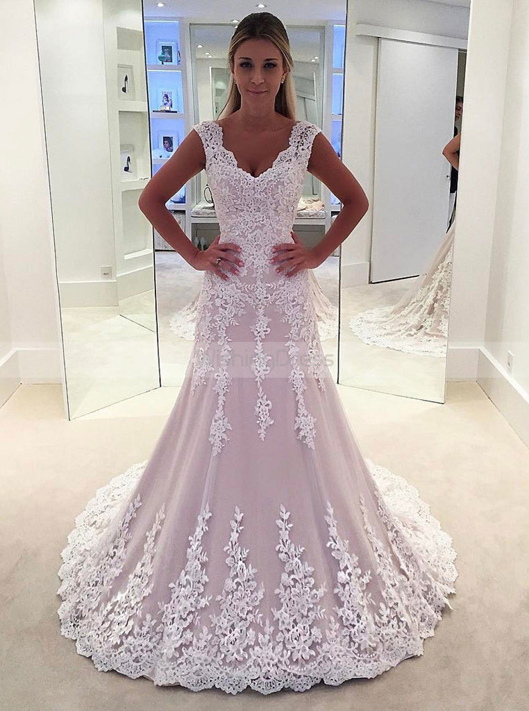 Blush Wedding Dress.Blush Wedding Dresses Aline Wedding Dress Lace Bridal Dress Elegant Bridal Dress Wd00167