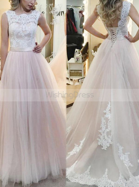 Blush Wedding Dresses,Tulle Bridal Dress,Elegant Wedding Dress,Aline Bridal Gown,WD00068