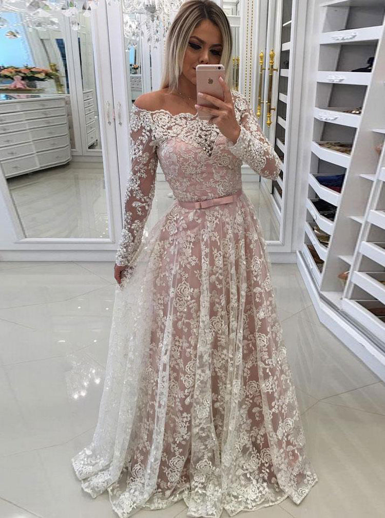 Blush Wedding Dress.Blush Wedding Dresses With Sleeves Off The Shoulder Bridal Dress Lace Wedding Dress Wd00303