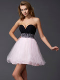 Blushing Pink Sweet 16 Dresses,Simple Homecoming Dress,Strapless Homecoming Dress,SW00035