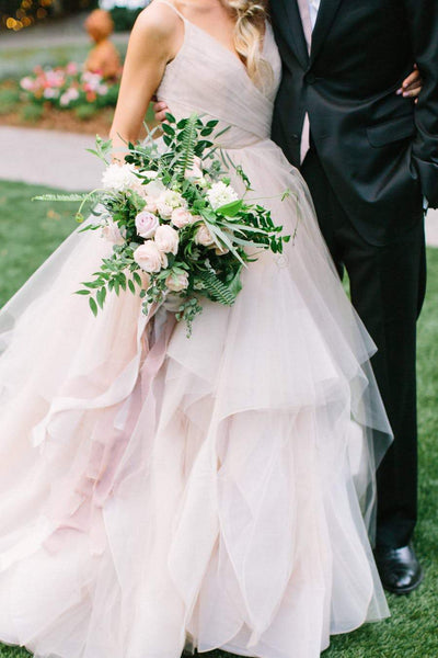 Blushing Pink Tulle Wedding Gown,Ruffled Bridal Gown with Straps,WD00337