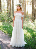 Boho Lace Wedding Dresses,Off the Shoulder Bridal Dress,WD00321