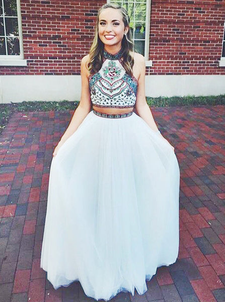 Boho Prom Dresses,Two Piece Prom Dress,Halter Prom Dress,Floor Length Prom Dress,PD00201