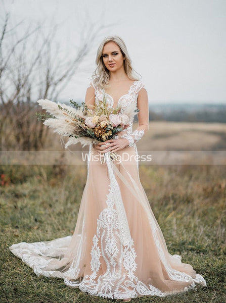 Boho Wedding Dress,Long Sleeves Wedding Dresses,Outdoor Wedding Dress,Casual Bridal Dress,WD00073