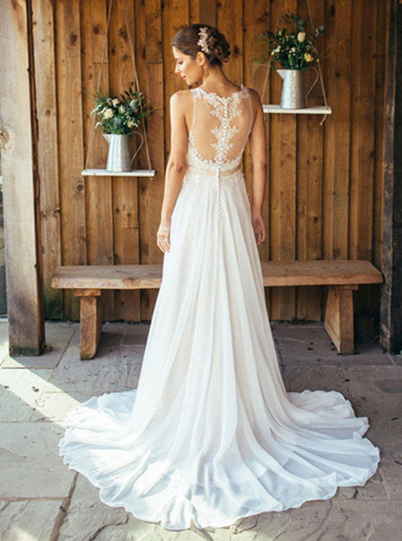 Boho Wedding Dresses,Beach Wedding Dress,Chiffon Bridal Dress,Simple Wedding Dress,WD00059