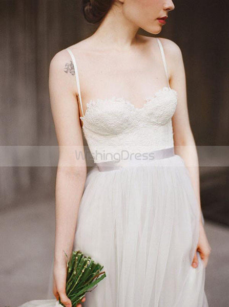 Boho Wedding Dresses,Wedding Dress with Straps,Tulle Long Wedding Dress,WD00197