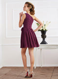 Chiffon Bridesmaid Dress,Short Bridesmaid Dress,One Shoulder Bridesmaid Dress,BD00110