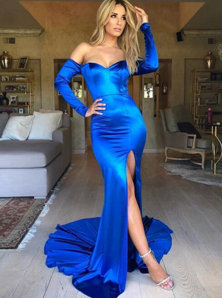 Bright Royal Blue Prom Dresses with Sleeves,Sexy Dress with Slit,PD00389