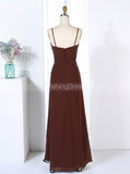 Brown Bridesmaid Dresses,Full Length Bridesmaid Dress,Bridesmaid Dress with Flower,BD00286