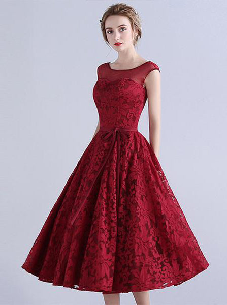 Burgundy A-line Prom Dress,Lace Tea Length Homecoming Dress,Vintage Prom Dress PD00029