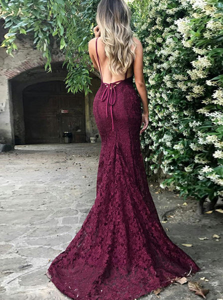 Burgundy Backless Lace Evening Dress,Prom Dress with Train,V Neck Sexy Evening Dress Summer PD00153