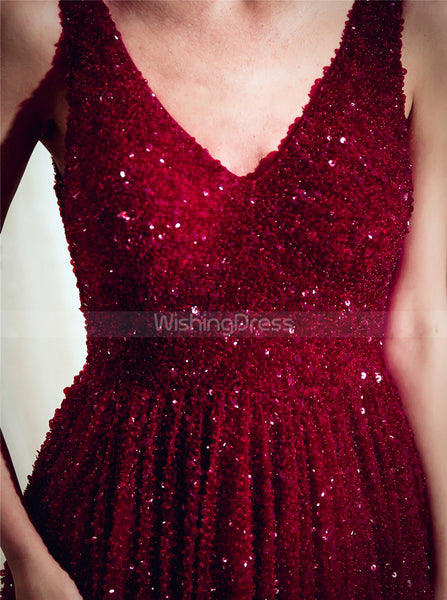 Burgundy Beaded Evening Dresses,Tulle Sparkly Prom Dress,PD00383