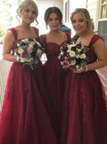 Burgundy Bridesmaid Dress,Aline Bridesmaid Dress,Tulle Bridesmaid Dress with Appliques,BD00022