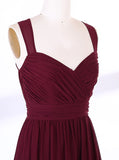 Burgundy Bridesmaid Dress,Chiffon Long Bridesmaid Dress,Strappy Bridesmaid Dress,BD00131
