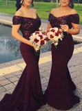 Burgundy Bridesmaid Dress,Mermaid Bridesmaid Dress,Sequined Bridesmaid Dress,BD00179