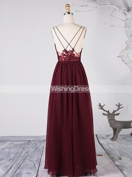 Burgundy Bridesmaid Dresses,Chiffon Romantic Bridesmaid Dress,BD00370