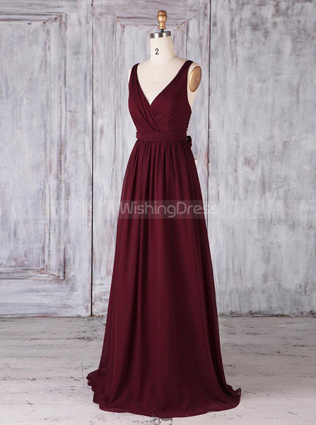 Burgundy Bridesmaid Dresses,Classic Bridesmaid Dress,Modest Bridesmaid Dress,BD00353