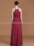 Burgundy Bridesmaid Dresses,Long Bridesmaid Dress,Chiffon Bridesmaid Dress,BD00250
