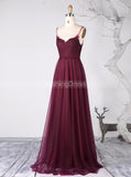Burgundy Bridesmaid Dresses,Tulle Long Bridesmaid Dress,BD00339