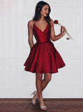 Burgundy Homecoming Dresses,A-line Homecoming Dress,Simple Homecoming Dress,HC00148