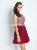 Burgundy Homecoming Dresses,Open Back Homecoming Dress,Beaded Cocktail Dress,HC00151