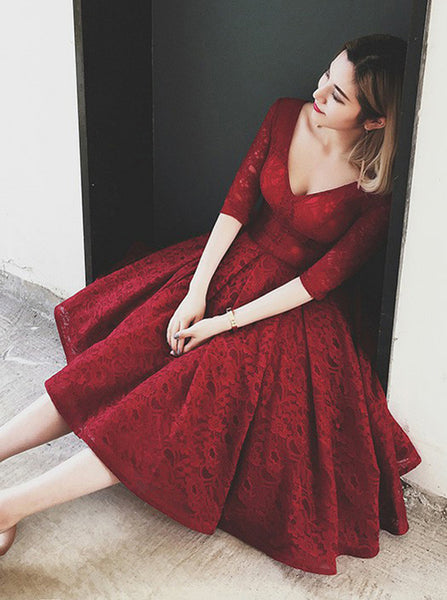 Burgundy Lace Party Dresses,Vintage Homecoming Dresses with Sleeves,HC00169