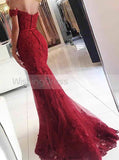 Burgundy Mermaid Evening Dress,Lace Off the Shoulder Evening Dress,Tight Lace Prom Dress PD00092