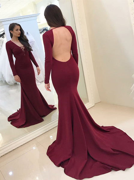 Burgundy Mermaid Prom Dress,Spandex Evening Dress with Long Sleeves,Blackless Prom Dress PD00122