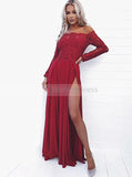 Burgundy Off the Shoulder Prom Dress,Lace Satin Evening Dress,Prom Dress with Lace Sleeves PD00110