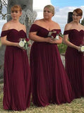 Burgundy Plus Size Bridesmaid Dress,Chiffon Off the Shoulder Bridesmaid Dress,BD00068