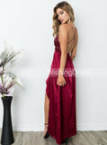 Burgundy Prom Dress,Sequined Prom Dress,Prom Dress with Slit,Backless Prom Dress,PD00295