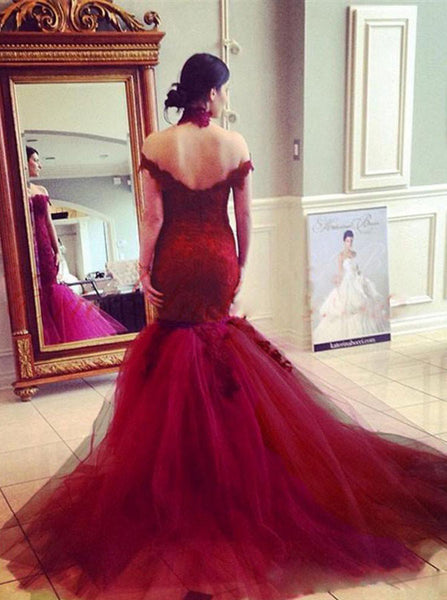 Burgundy Prom Dresses,Off the Shoulder Prom Dress,Mermaid Prom Dress,PD00359