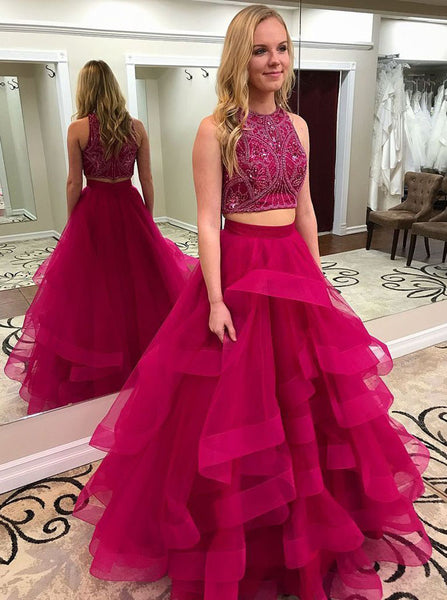 Burgundy Prom Dresses,Two Piece Prom Dress,Ruffled Tulle Prom Dress,PD00358