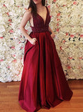 Burgundy Taffeta Prom Gown,Floor Length Prom Dress with Pockets,V Neck Evening Dress PD00067