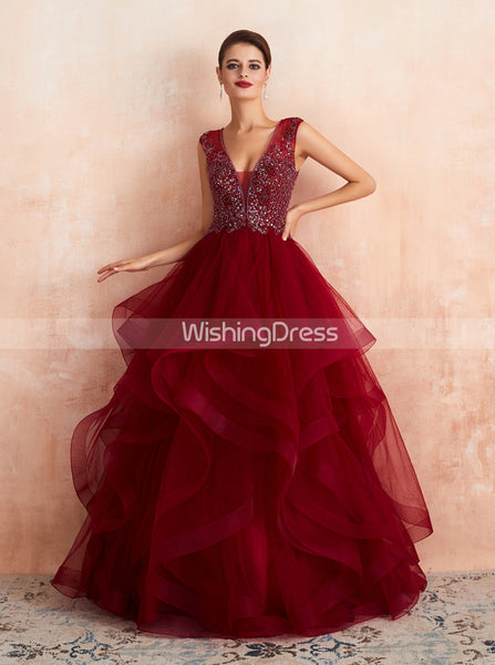 Burgundy Tiered Prom Gown,Princess Sweet 16 Dress,PD00460