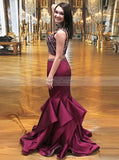 Burgundy Two Piece Prom Dress,Mermaid Prom Dress,High Neck Evening Dress PD00041