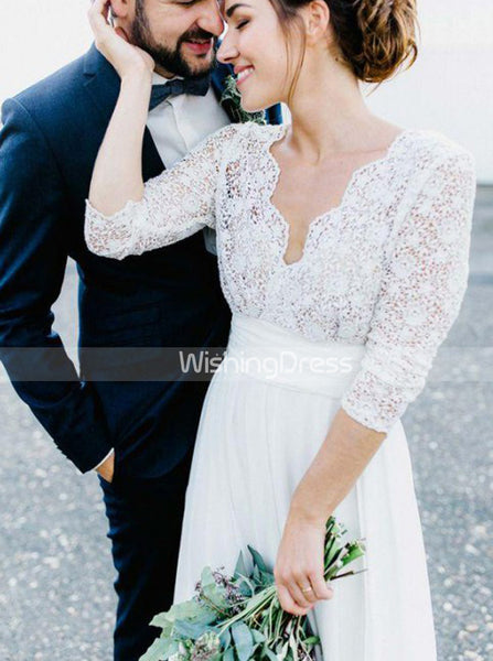 Casual Wedding Dresses,Beach Bridal Dress with Lace Sleeves,WD00430